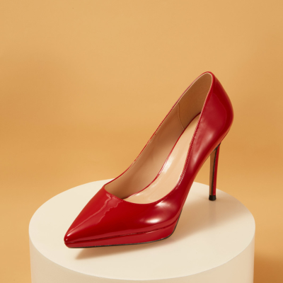 Red Patent Leather Pointed Toe Platform Stiletto Heels Pumps