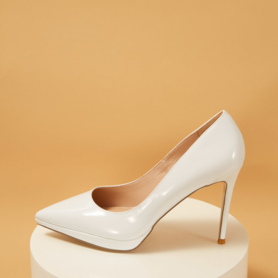 White Patent Leather Pointed Toe Platform Stiletto Heels Pumps