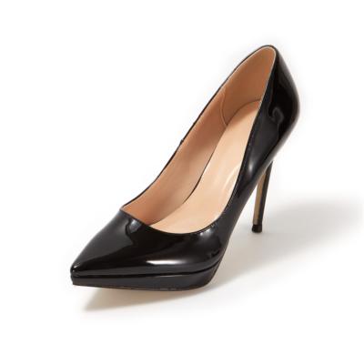 Black Patent Leather Pointed Toe Platform Stiletto Heels Pumps