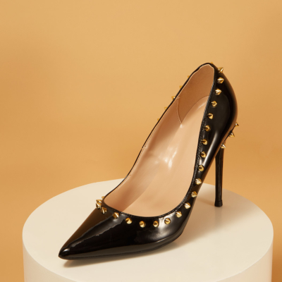 Patent Leather Pointed Toe Rivets Stiletto Heels Pumps
