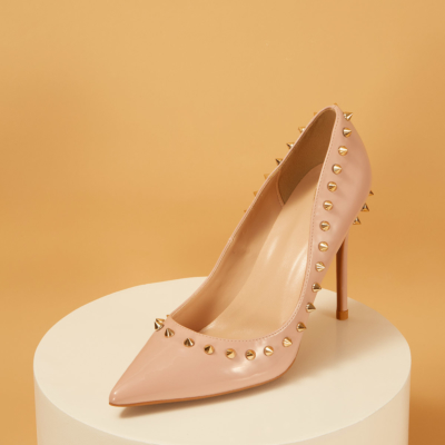 Blush Patent Leather Pointed Toe Rivets Stiletto Heels Pumps