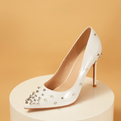 Patent Leather Pointy Toe Studded Stilettos Pumps