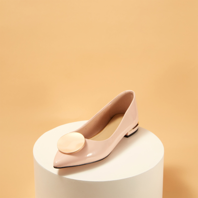 Patent Leather Round Buckle Low Heel Work Pumps