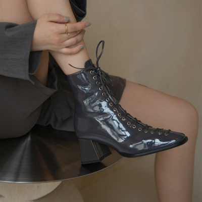 Grey Patent Leather Round Toe Lace-up Block Heel Ankle Boots