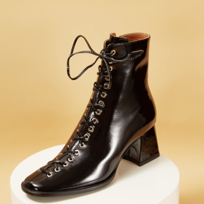 Patent Leather Round Toe Lace-up Block Heel Ankle Boots