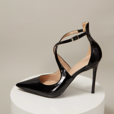 Black Patent Leather Sexy Buckle Criss-Cross Strap Stiletto Heel Pumps