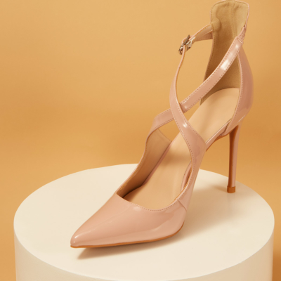 Patent Leather Sexy Buckle Criss-Cross Strap Stiletto Heel Pumps