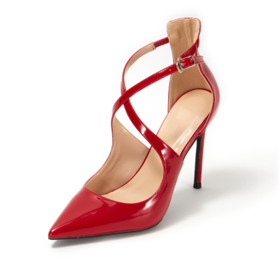 Red Patent Leather Sexy Buckle Criss-Cross Strap Stiletto Heel Pumps