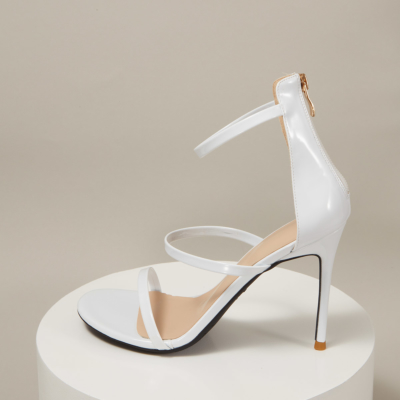 Up2step Patent Leather Triple Strap Open Toe Dancing Heeled Sandals