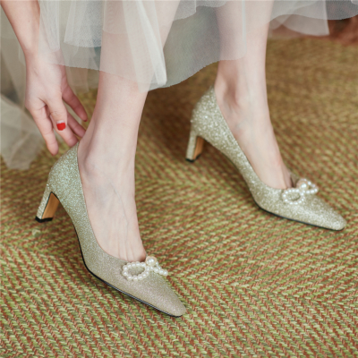 Silver Glitter Pearls Bow Closed Toe Pumps Wedding Sequin Heels Shoes for Brides