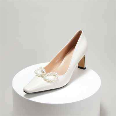 White Leather Pearls Bow Closed Toe Pumps Wedding Heels Shoes for Brides