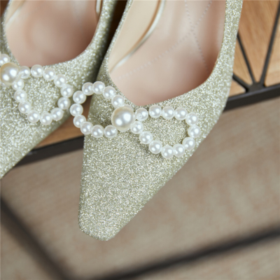 Pearls Bow Embellished Closed Toe Pumps Wedding Heels Shoes for Brides