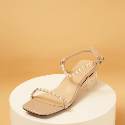 Pearls Embellished Ankle Strap Clear Heel Sandals