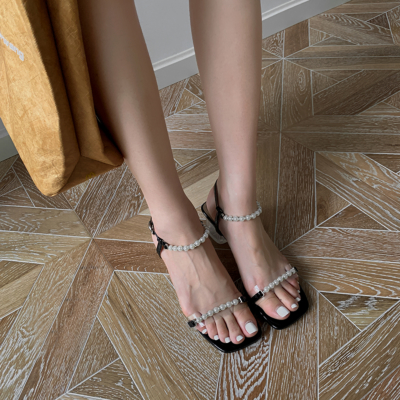 Black Pearls Embellished Ankle Strap Clear Heel Sandals