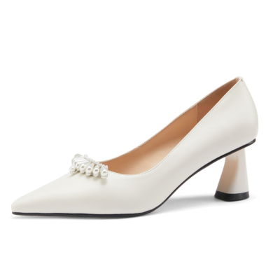 White Pearls Embellished Leather Pointy Toe Pumps Block Heels Wedding Shoes