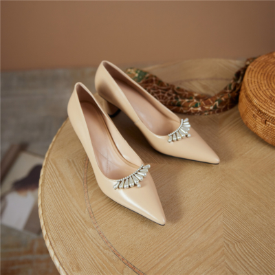 Nude Pearls Embellished Leather Pointy Toe Pumps Block Heels Wedding Shoes