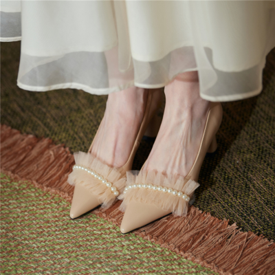 Nude Pearls Mesh Leather Pointy Toe Pumps Block Heels Work Shoes