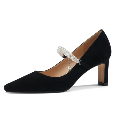Black Pearls Strap Heeled Mary Janes Sqaure Toe Suede Dress Pumps