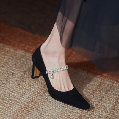 Pearls Strap Heeled Mary Janes Sqaure Toe Leather Dress Pumps