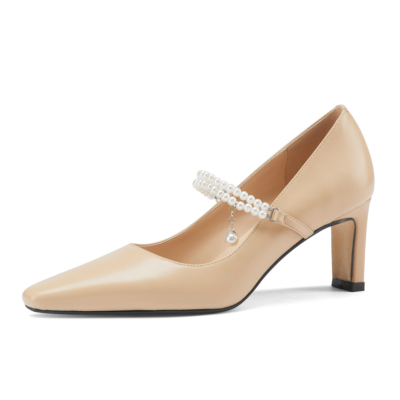 Nude Pearls Strap Heeled Mary Janes Sqaure Toe Leather Dress Pumps