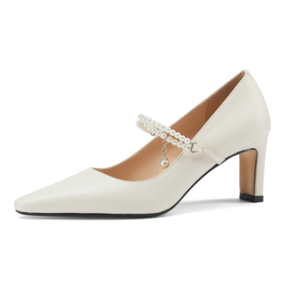 White Pearls Strap Heeled Mary Janes Sqaure Toe Leather Dress Pumps