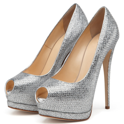 Silver Glitter Peep Toe Platform Pumps with Stiletto Heels Dresses Sequin Shoes