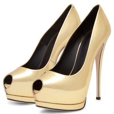 Gold Peep Toe Platform Pumps with Stiletto Heels Dresses Shoes