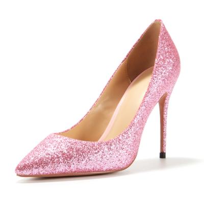 Pink Glitter Wedding 2021 Glitter Stiletto High Heel Pointed Toe Pumps Shoes