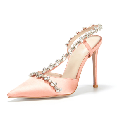 Pink Satin Crystal Cross Strap Heeled Sandals Closed Toe Bridal Slingback Shoes