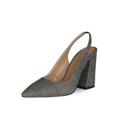 Grey Block Heeled Point Toe Denim Slingback 4 inch High Heels Pumps