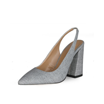Block Heeled Point Toe Denim Slingback 4 inch High Heels Pumps