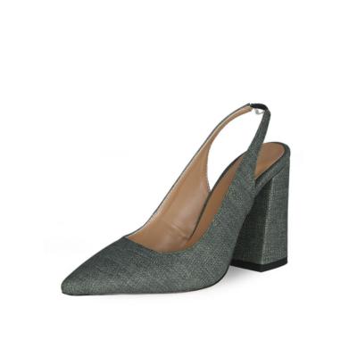 Green Block Heeled Point Toe Denim Slingback 4 inch High Heels Pumps