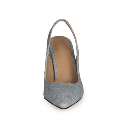 Light Grey Block Heeled Point Toe Denim Slingback 4 inch High Heels Pumps