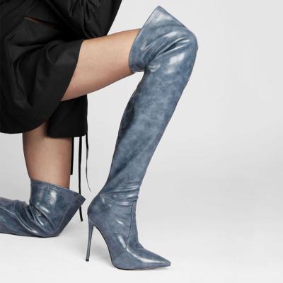 Pointed Slip-on Work Stiletto Thigh High Boots