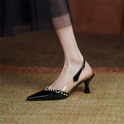 Black Pointed Toe Patent Leather Bridal Pearl Pumps Slingback Buckle Shoes