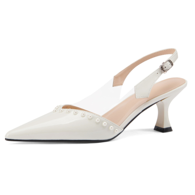 Pointed Toe Patent Leather Bridal Pearl Pumps Slingback Buckle Shoes