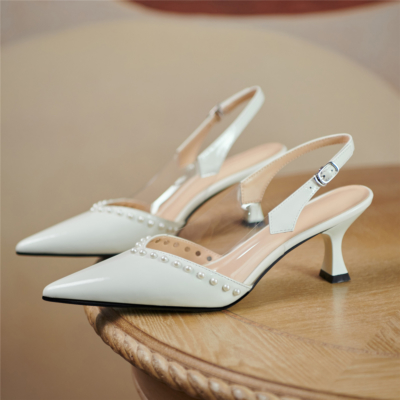 White Pointed Toe Patent Leather Bridal Pearl Pumps Slingback Buckle Shoes