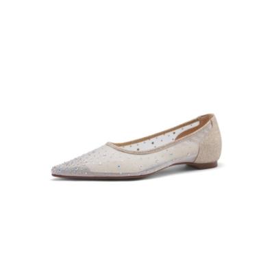 Pointed Toe Rhinestone Mesh Comfortable Ballet Flats