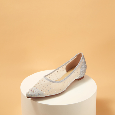 Silver Pointed Toe Rhinestone Mesh Comfortable Ballet Flats