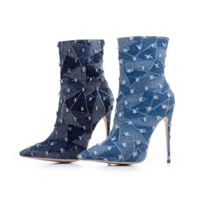 Pointed Toe Stretch Ankle Boots Denim Stiletto Booties for Women