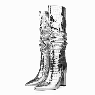 Silver Pointy Toe Crocodile-Print Block Heel Metallic Knee High Boots