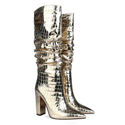 Pointy Toe Crocodile-Print Block Heel Metallic Knee High Boots
