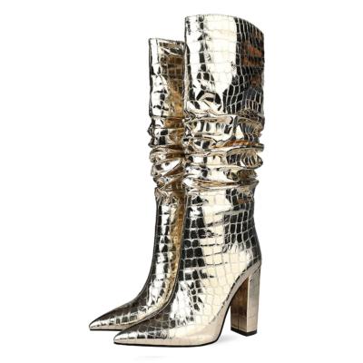 Golden Pointy Toe Crocodile-Print Block Heel Metallic Knee High Boots