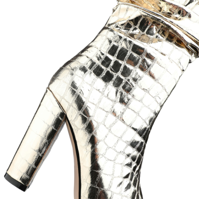 Golden Pointy Toe Crocodile-Print Block Heel Metallic Knee High Boots