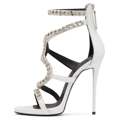 Punk Chain Wrap Sandals High Heels with Back Zipper