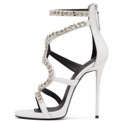 White Chain Wrap Sandals 5