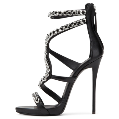 Black PU Chain Wrap Sandals 5 inch Heels with Back Zipper