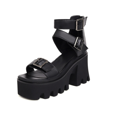 Punk Multi Buckle Platform Chunky Heel Sandals Ankle Strap Shoes for Party