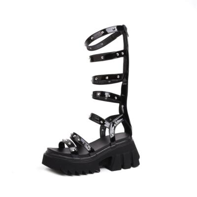 Punk Rivet Platform Strappy Gladiator Sandals with Zipper&Chunky Heel