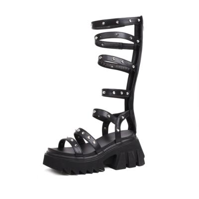 Matte Black Rivet Platform Strappy Gladiator Sandals with Zipper&Chunky Heel